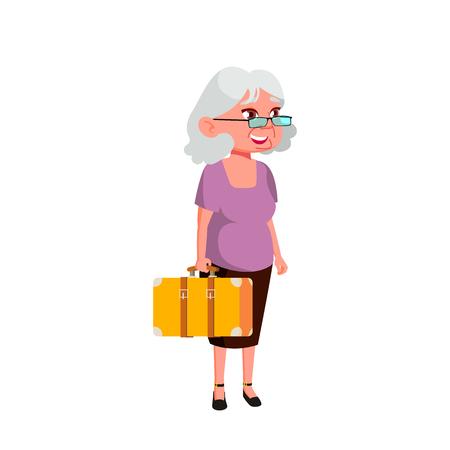 Caucasian Woman Vector. Elderly People. Senior Person. Aged. Active Grandparent. Isolated Cartoon Illustration Ilustración de vector