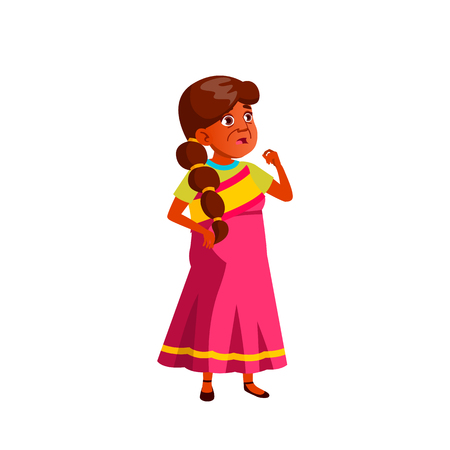 Indian Woman Vector. Elderly People. Senior Person. Aged. Active Grandparent. Isolated Cartoon Illustration Ilustração