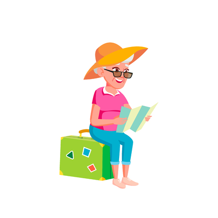 Caucasian Woman Vector. Elderly People. Senior Person. Aged. Active Grandparent. Isolated Cartoon Illustration