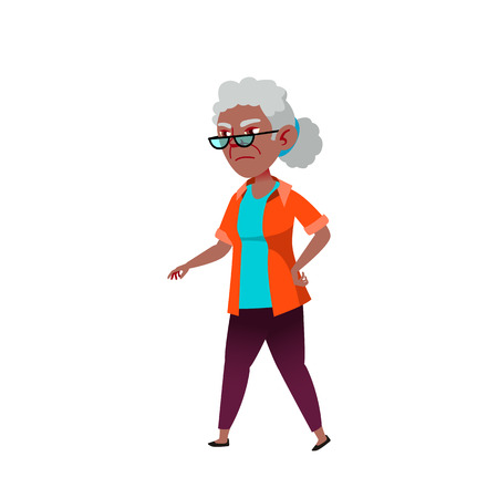 Black, African American Woman Vector. Elderly People. Senior Person. Aged. Active Grandparent. Isolated Cartoon Illustration