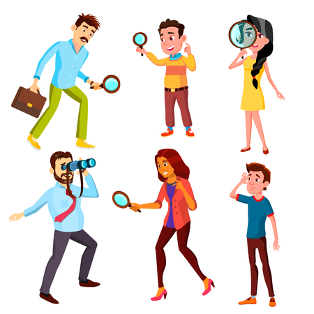 Curious Characters Looking Information Set Vector. Woman And Man Searching Through A Magnifying Glass, Male Watching In Binocular And Boy Looking Into Distance. Flat Cartoon Illustration