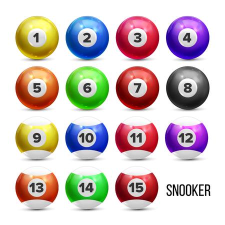 Boules de billard de billard avec des nombres définis vecteur. Collection brillante colorée de sphère de piscine de jeu de billard avec la réflexion. Équipement de jeu de jouer Divertissement Illustration 3d réaliste Vecteurs