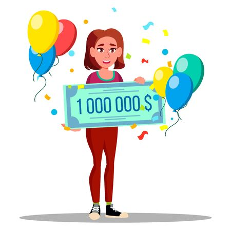 Character Happy Woman Holding Bank Check Vector. Lucky Female Won Jackpot In Lottery Check For One Million Dollars. Girl With Cheque, Balloons And Confetti Flat Cartoon Illustration