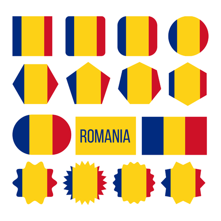 Romania Flag Collection Figure Icons Set Vector. National Symbol Of Eastern European Country Romania Tricolor With Vertical Blue, Yellow And Red Stripes Color. Flat Cartoon Illustration