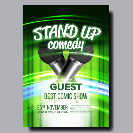Advertising Poster Of Stand Up Show In Club Vector. Wireless Microphones, Speed Movement Lights And Green Curtain On Background Decoration Poster. Humor Concert Banner Realistic 3d Illustration