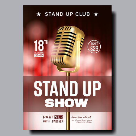 Stand Up Show In Night Club Poster Flyer Vector. Metal Golden Microphone, Red Curtain Banner With Date And Time, Ticket Price, Partner Information And Place Of Amusing Show. Realistic 3d Illustration