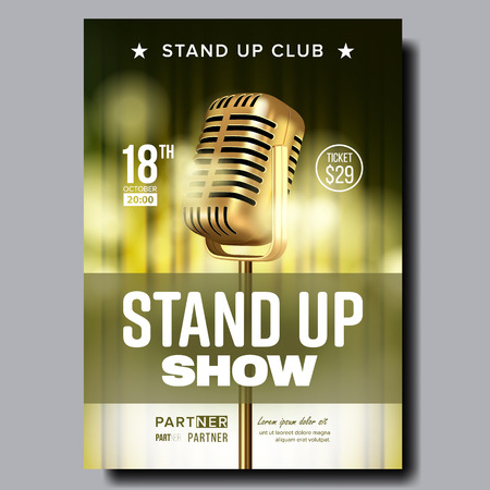 Stand Up Show In Club Poster Announcement Vector. Vintage Golden Microphone, Yellow Color Curtain Banner With Date, Ticket Price, Partner Information And Place Of Humor Show. Realistic 3d Illustration
