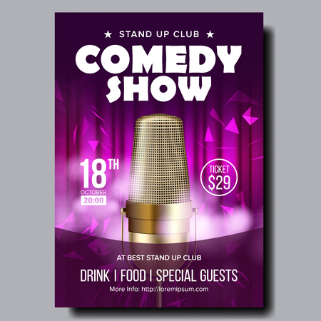 Bright Banner Of Evening Comedy Live Show Vector. Studio Closeup Golden Microphone, Decoration Purple Curtain On Background Stylish Banner. Comical Leisure Time In Club Realistic 3d Illustration