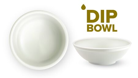 Empty White Ceramic Dip Bowl For Sauces Vector. Blank Round Classic Dishware Container Ramekin For Sauces Made From Porcelain. Crockery For Condiments Top And Side View Realistic 3d Illustration
