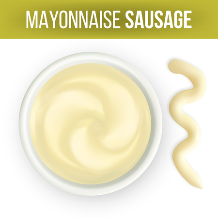 Mayonnaise Sauce In Dip Bowl And Splash Vector. Spread Classical White Condiment Mayonnaise Made From Natural Product For Delicious Dishes. Seasoning Top View Realistic 3d Illustration 일러스트