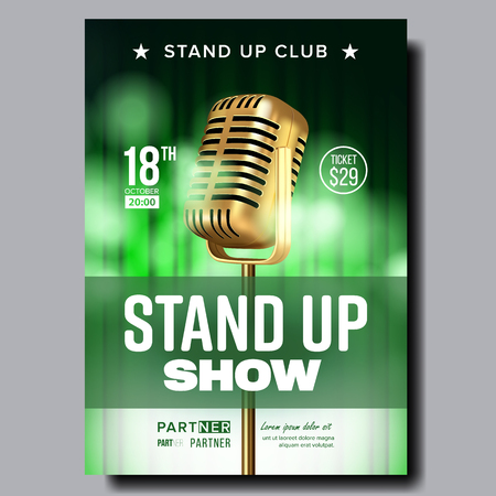 Colorful Poster Flyer Of Stand Up Show Club Vector. Vintage Golden Microphone, Green Curtain Stylish Banner Template With Ticket Price And Place Information Of Comical Show. Realistic 3d Illustration