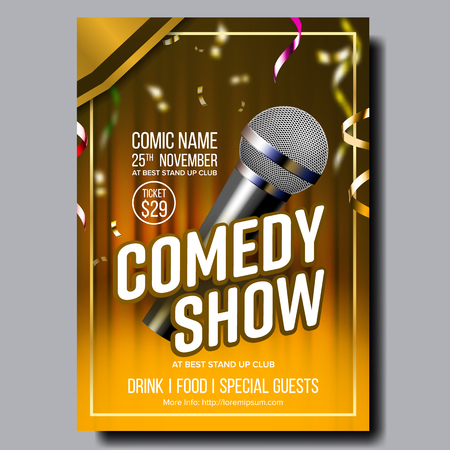 Modern Stylish Poster Card Of Comedy Show Vector. Microphone, Confetti, Yellow Curtain And Calligraphy Text Of Entertainment Depicted On Funny Comedy Performance Banner. Realistic 3d Illustration