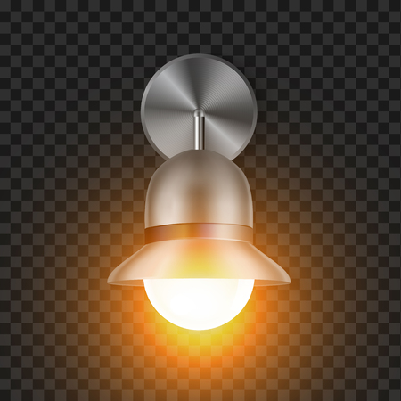 Shining Modern Sconce Element For House Vector. Outdoor Or Inside Metal Decorative Electric Wall Lamp Detail For Illuminate Room, Bar Or Studio. Building Light Equipment Realistic 3d Illustration