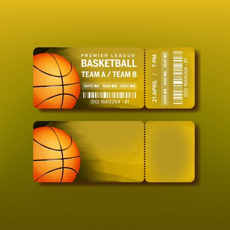 Ticket On Premier League Of Basketball Game Vector. Stylish Design Card For Visit Basketball Sport Competition With Orange Ball, Barcode And Venue Details. Realistic 3d Illustration