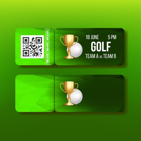 Ticket Tear-off Coupon For Golf Tournament Vector. Golden Goblet And White Golf Ball Isolated On Dark Green Certificate For Final Of International Championship Sport Event. Realistic 3d Illustration Illustration