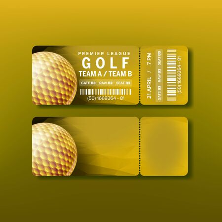 Ticket For Premier League Golf Tournament Vector. Golden Ball On Bright Yellow Flyer Invitation In Golf Club With Bar Code And Venue Details. Modern Template Realistic 3d Illustration Illustration