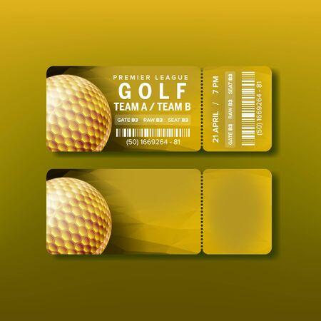 Ticket voor Premier League golftoernooi Vector. Gouden bal op felgele flyer-uitnodiging in golfclub met streepjescode en locatiedetails. Moderne sjabloon realistische 3d illustratie
