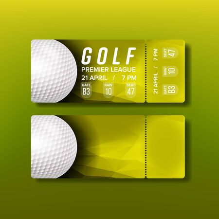 Ticket Tear-off Coupon For Golf Tournament Vector. White Golf Ball, Venue Details And Name Players On Colorful Flyer Of Annual Golf Premier League In Country Club. Realistic 3d Illustration