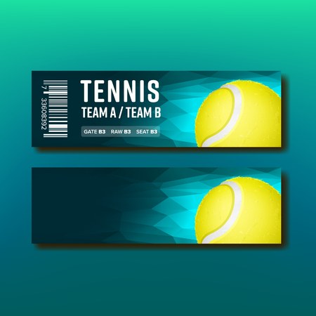 Bright Voucher For Tennis Annual Tournament Vector. Ticket Invitation For Visit Tennis Match. Yellow Playing Ball And Venue Details Information On Design Flyer. Realistic 3d Illustration