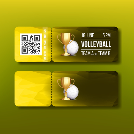 Ticket With Tear-off Coupon On Volleyball Vector. Ball And Golden Cup, Date And Time, Playing Teams And Qr Code Depicted On Colorful Ticket. Design Voucher Realistic 3d Illustration Illustration