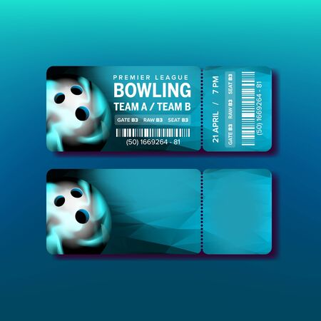 Ticket On Premier League Of Bowling Game Vector. Flyer For Visit Bowling International Championship With Barcode, Ball And Information Of Event Place. Colorful Realistic 3d Illustration
