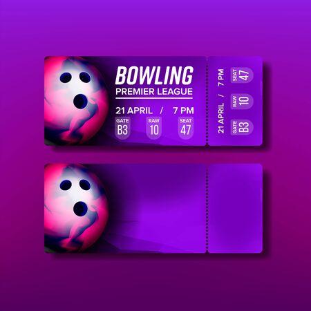 Ticket Tear-off Coupon op Bowling Match Vector. Heldere voucher voor bezoek National Bowling Premier League-spel met nummerpoort, onbewerkte en stoelplaatsinformatie. Realistische 3d illustratie