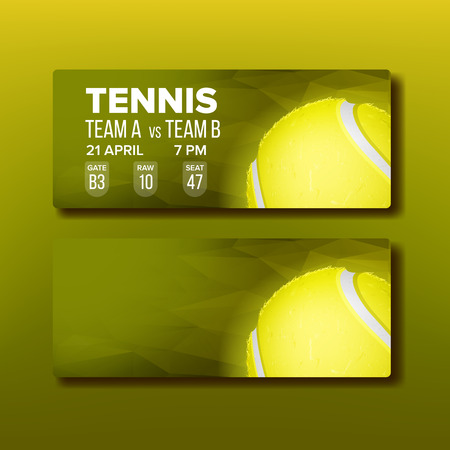 Bright Coupon For Visit Tennis Tournament Vector. Template Of Ticket Invitation For Regional Competition Of Tennis. Playing Ball And Details Game Date, Raw, Seat And Address. Realistic 3d Illustration Vettoriali