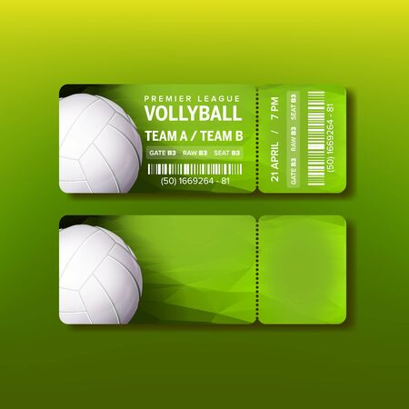 Ticket On Premier League Of Volleyball Vector. Colorful Ticket With Tear-off Coupon And Information Of Playing Game, Date And Time And Place Seat. Design Card Invitation Realistic 3d Illustration Stock Illustratie
