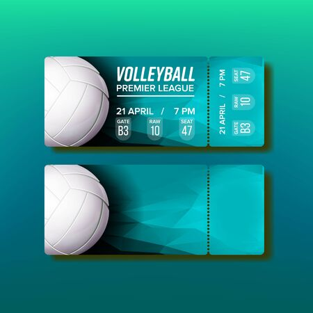 Ticket Tear-off Coupon On Volleyball Match Vector. Turquoise Ticket Design Ball And Information Place And Date Of Playing Game Competition. Invitation On Premier League Realistic 3d Illustration