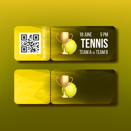 Ticket With Tear-off Coupon Visit Tennis Vector. Design Template Flyer For Visit National Tennis Competition. Golden Prize Cup, Playing Ball Qr Code And Venue Details Realistic 3d Illustration