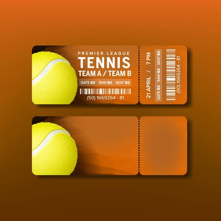 Ticket For Visit Premier League Of Tennis Vector. Orange Flyer With Tear-off Coupon For Visit Tennis Game With Venue Information, Bar Code And Playing Game. Realistic 3d Illustration