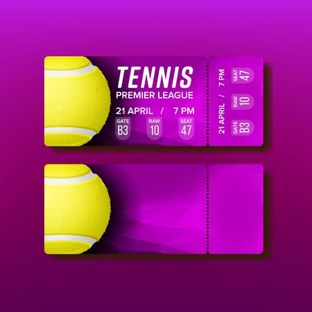 Ticket Tear-off Coupon Visit Tennis Match Vector. Purple Flyer Invitation On Tennis Court And See Premier League Game. Yellow Playing Ball And Details Of Place And Seat Realistic 3d Illustration