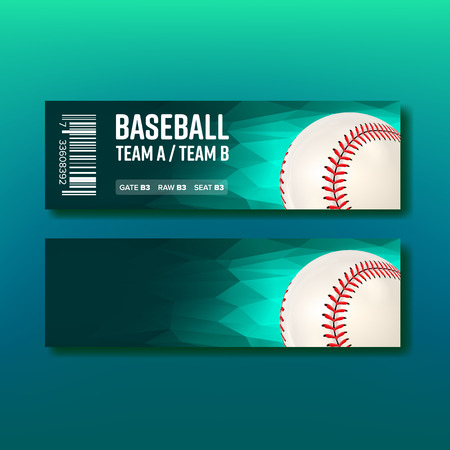 Colorful Ticket Visit Baseball Template Vector. Turquoise Flyer Invitation For See Major League Baseball Postseason Sport. Leather Ball With Seam And Venue Detail Realistic 3d Illustration