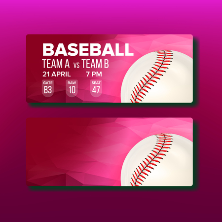 Red Coupon For Visit Baseball Game Template Vector. White Playing Ball, Bar Code And Information Of Gate, Raw And Seat On Bright Ticket For See Baseball Competition. Realistic 3d Illustration
