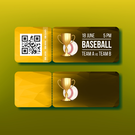 Ticket With Tear-off Coupon On Baseball Vector. Golden Goblet, White Game Ball, Qr Code And Venue Information On Modern Flyer Invitation For See Baseball Championship. Realistic 3d Illustration Illustration