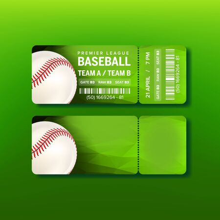 Ticket On Premier League Of Baseball Game Vector. Bright Green Card Invitation With White Playing Leather Seam Ball And Information Of Place Of Baseball Match. Realistic 3d Illustration