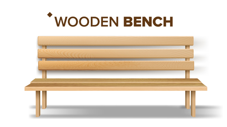 Design Classical Handicraft Wooden Bench Vector. Relaxation Yellow Bench Decoration Element Of Patio, Garden And Park. Exterior Comfortable Furniture For Rest Realistic 3d Illustration Çizim