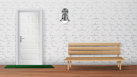 Stylish Exterior Of Country Cottage Terrace Vector. Terrace Decorated Mat On Wooden Floor And Bench, Lamp On White Brick Wall And Entrance Door. Recreation Outdoor Zone Realistic 3d Illustration Illustration