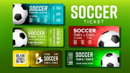 Stylish Tickets For Visit Soccer Match Set Vector. Collection Of Tickets For Football Premier League On Stadium Decorate Playing Ball And Prize, Team Names And Venue Details. Realistic 3d Illustration