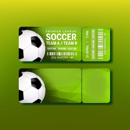 Ticket For Final Of Premier League Soccer Vector. Design Colorful Ticket For Watching Football Match On Stadium. Game Ball, Venue Details Depicted On Green Flyer. Realistic 3d Illustration