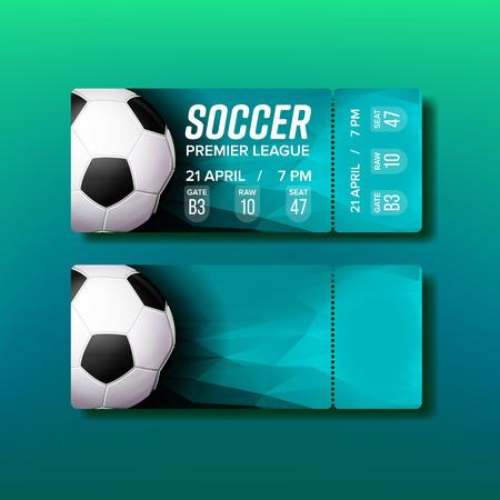 Ticket-Abreiß-Coupon für Fußballspiel-Vektor. Entwerfen Sie ein stilvolles Ticket für den Besuch des Stadions und das Anschauen des Fußballweltmeisters Ball, Teamnamen und Informationen zum Veranstaltungsort. Realistische 3D-Illustration