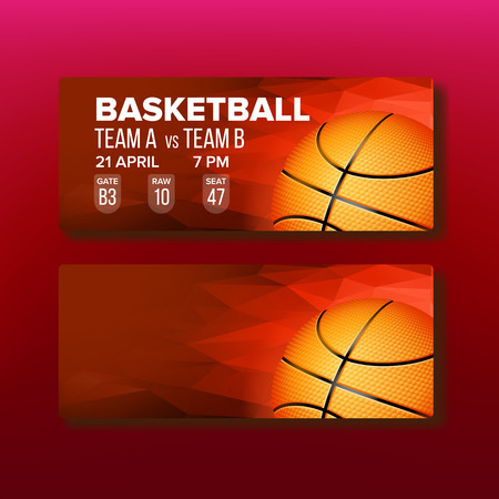 Red Coupon On Basketball Game Template Vector. Modern Bright Ticket For Visit International Basketball Match. Orange Ball With Black Stripes, Gate, Raw And Seat Realistic 3d Illustration Vettoriali
