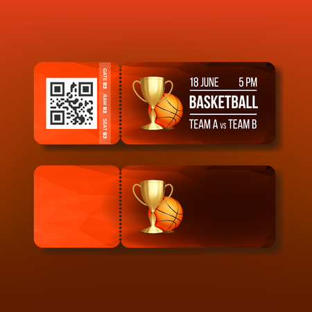 Ticket With Tear-off Coupon On Basketball Vector. Stylish Flyer Invitation For Visit Regional Basketball Match With Qr Code, Ball And Information Playing Teams And Seat. Realistic 3d Illustration