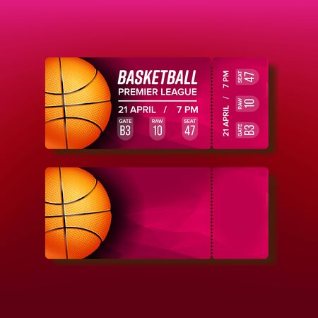 Ticket Tear-off Coupon On Basketball Match Vector. Stylish Card For See Championship Of Basketball Premier League Decorated Orange Playing Ball And Venue Information. Realistic 3d Illustration Stock Illustratie