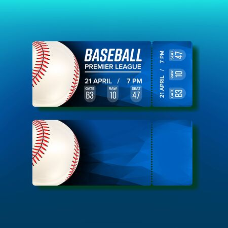 Ticket Tear-off Coupon On Baseball Match Vector. Bright Blue Card Invitation For Visit Baseball Premier League. White Playing Ball With Red Thread At Seams And Venue Details Realistic 3d Illustration