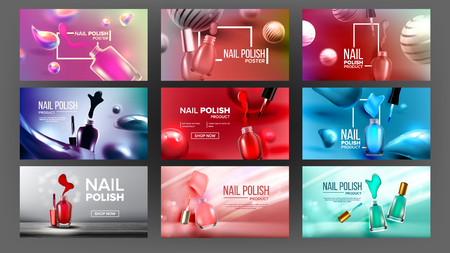 Multicolored Nail Polish Bottle Banner Set Vector. Collection Of Different Design Poster With Glassy Vial, Nailbrushes And Color Lacquer For Nail Care. Woman Glamour Accessory 3d Illustration 写真素材 - 126553590