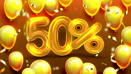 Fifty Percent Or 50 Marketing Xmas Offer Vector. Business Advertising Marketing Poster, Shop Promotion Christmas Sale With Yellow Balloons And Confetti. Unique Proposal Realistic 3d Illustration