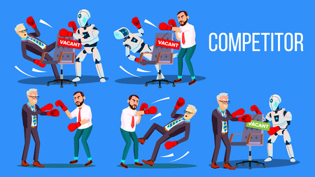 Competitor Of Work Vacancy Position Set Vector. Character Man Fighting With Robot For Vacant Position Chair In Company. Business Battle Competition Colorful Flat Cartoon Illustration