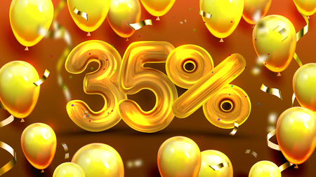 Thirty Five Percent Or 35 Marketing Offer Vector. Business Marketing Poster, Promotion Store Special Discount Of Sale With Golden Balloons And Confetti Decoration. Realistic 3d Illustration