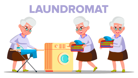 Electrical Washing Laundromat Appliance Vector. Character Old Woman Grandmother Dry In Laundromat And Stroking On Ironing Board Clothes. Housework Colorful Flat Cartoon Illustration Çizim